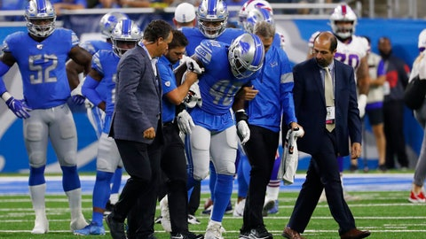 <p>               Detroit Lions middle linebacker Jarrad Davis (40) is helped off the field by medical staff during the first half of the team's NFL preseason football game against the Buffalo Bills in Detroit, Friday, Aug. 23, 2019. (AP Photo/Rick Osentoski)             </p>