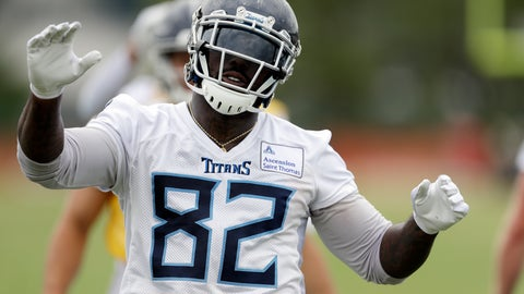 <p>               FILE - In this May 30, 2019, file photo, Tennessee Titans tight end Delanie Walker warms up during an organized team activity at the Titans' NFL football training facility, in Nashville, Tenn. Walker is a week from his 35th birthday, and the Titans' three-time Pro Bowl tight end is heading into his 14th NFL season. He also believes he's in better shape than some 21-year-olds coming into the league. (AP Photo/Mark Humphrey, File)             </p>