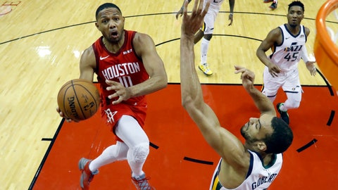 <p>               In this April 24, 2018, fphoto, Houston Rockets guard Eric Gordon (10) drives to the basket past Utah Jazz center Rudy Gobert (27) during the second half of Game 5 of a first-round NBA basketball playoff series in Houston. A person with knowledge of the situation tells The Associated Press that the Houston Rockets and Gordon have agreed on a contract extension. It's for at least three years, starting in 2020-21, with an option that a fourth season could be added. (AP Photo/David J. Phillip, File)             </p>