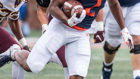 <p>               FILE - In this Nov. 3, 2018, file photo, Illinois running back Reggie Corbin (2) breaks a tackle to score Illinois' first touchdown of the game against Minnesota in the first half of an NCAA college football game in Champaign, Ill. Heading into the Year 4 of Lovie Smith's tenure, the Illini are still looking to reach bowl eligibility under the former Super Bowl coach. Corbin, a senior with blazing speed, broke out last season with 1,085 yards rushing on 8.5 yards per carry. (AP Photo/Holly Hart, File)             </p>
