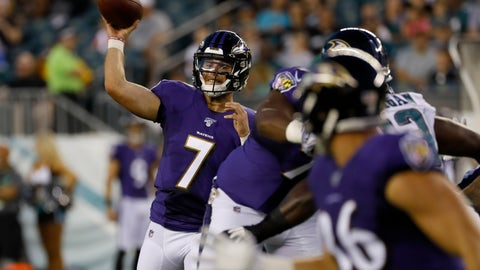 <p>               Baltimore Ravens' Trace McSorley (7) passes during the first half of a preseason NFL football game against the Philadelphia Eagles, Thursday, Aug. 22, 2019, in Philadelphia. (AP Photo/Michael Perez)             </p>