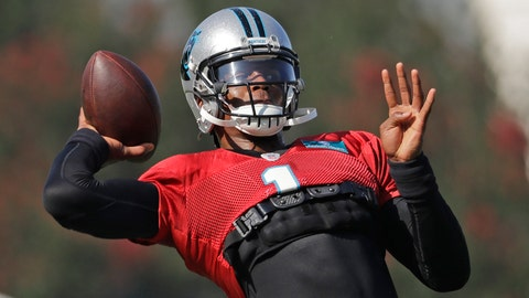 <p>               Carolina Panthers' Cam Newton (1) looks to pass during practice at the NFL football team's training camp in Spartanburg, S.C., Monday, July 29, 2019. (AP Photo/Chuck Burton)             </p>