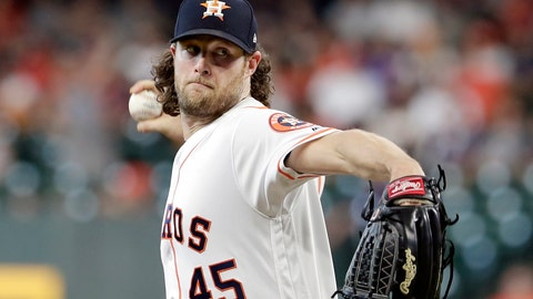 <p>               Houston Astros starting pitcher Gerrit Cole (45) throws during the first inning of a baseball game against the Colorado Rockies Wednesday, August 7, 2019, in Houston. (AP Photo/Michael Wyke)             </p>