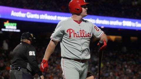 <p>               Philadelphia Phillies' Jay Bruce walks to the dugout after striking out during the eighth inning of the team's baseball game against the San Francisco Giants in San Francisco, Thursday, Aug. 8, 2019. (AP Photo/Jeff Chiu)             </p>