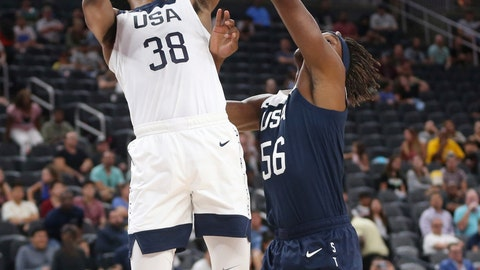 <p>               Team White forward Marvin Bagley III (38) goes up to shoot under pressure from Team Blue center Myles Turner (56) during the first quarter of the United States men's basketball team's scrimmage in Las Vegas, Friday, Aug. 9, 2019. (Erik Verduzco/Las Vegas Review-Journal via AP)             </p>