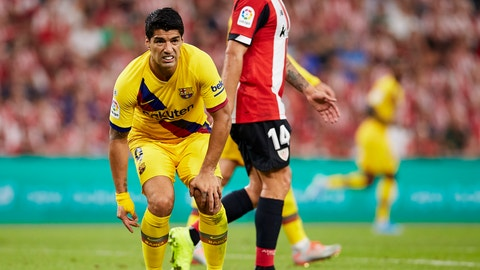<p>               Barcelona's Luis Suarez reacts during the Spanish La Liga soccer match between Athletic Bilbao and FC Barcelona at San Mames stadium in Bilbao, northern Spain, Friday, Aug. 16, 2019. (AP Photo/Ion Alcoba Beitia)             </p>