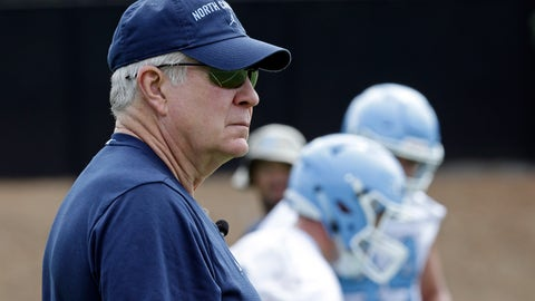 <p>               North Carolina head coach Mack Brown watches players during NCAA college football practice Friday, Aug. 2, 2019 in Chapel Hill, N.C. (AP Photo/Gerry Broome)             </p>