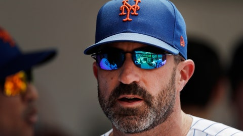 <p>               New York Mets manager Mickey Callaway watches from the dugout against the Miami Marlins in a baseball game, Wednesday, Aug. 7, 2019 in New York. (AP Photo/Mark Lennihan)             </p>