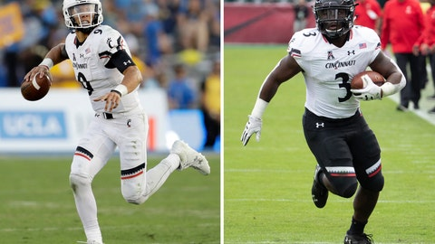 <p>               FILE - At left, in a Sept. 1, 2018, file photo, Cincinnati quarterback Desmond Ridder (9) runs against UCLA during the second half of an NCAA college football game in Pasadena, Calif. At right, in an Oct. 20, 2018, file photo, Cincinnati's running back Michael Warren II (3) carries during the first half of an NCAA college football against Temple in Philadelphia. Cincinnati improved from 4-8 in 2017 to 11-2 last year with redshirt freshman quarterback Desmond Ridder throwing 20 touchdown passes and only five interceptions. Cincinnati also returns Michael Warren, who rushed for 1,329 yards last season. (AP Photo/File)             </p>