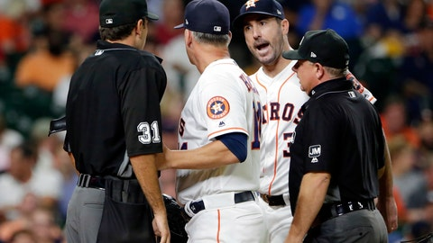 <p>               Houston Astros starting pitcher Justin Verlander, facing, argues with home plate umpire Pat Hoberg (31) as A.J. Hinch and first base umpire Greg Gibson get between them after Hoberg ejected Verlander during the sixth inning of a baseball game Tuesday, Aug. 27, 2019, in Houston. (AP Photo/Michael Wyke)             </p>