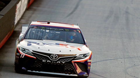 <p>               Denny Hamlin makes his way around the track during qualifying for a NASCAR Cup Series auto race, Friday, Aug. 16, 2019, in Bristol, Tenn. Hamlin will start on the pole Saturday night. (AP Photo/Wade Payne)             </p>