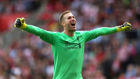 <p>               Liverpool goalkeeper Adrian celebrates Sadio Mane's first goal of the game,  during the English Premier League soccer match between Southampton and Liverpool, at St Mary's, in Southampton, England, Saturday, Aug. 17, 2019. (Steven Paston/PA via AP)             </p>