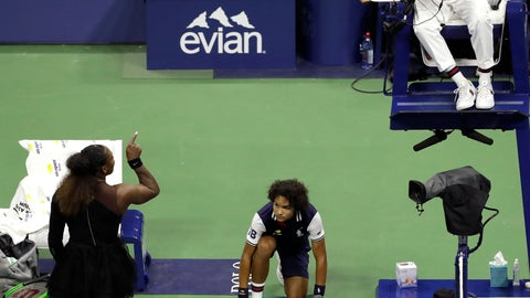 <p>               FILE - In this Sept. 8, 2018, file photo, Serena Williams, left, talks with chair umpire Carlos Ramos during the women's final of the U.S. Open tennis tournament against Naomi Osaka, of Japan, in New York. The indelible image from last year's U.S. Open does not involve anyone holding a trophy or making a particularly remarkable shot. It will be Williams pointing a finger at Ramos as she insisted he owed her an apology. (AP Photo/Seth Wenig, File)             </p>