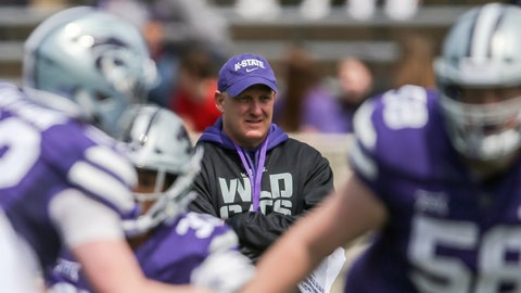 <p>               FILE - In this April 13, 2019, file photo, Kansas State head coach Chris Klieman watches his team during an NCAA college football practice in Manhattan, Kan. Klieman knew he had a problem when he looked at the roster he was inheriting at Kansas State. He had a veteran QB. Veteran offensive line. Lots of veterans on defense. And not a single running back. None. At all.(Travis Heying/The Wichita Eagle via AP, File)             </p>