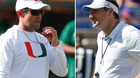 <p>               FILE - At left, in an Aug. 6, 2019, file photo, Miami head football coach Manny Diaz prepares to blow his whistle during an NCAA college football practice at the University of Miami in Coral Gables, Fla. At right, in an Oct. 6, 2018, file photo, Florida head coach Dan Mullen watches players warm up before an NCAA college football game against LSU in Gainesville, Fla. Florida and Miami have the college football stage to themselves for 3 ½ hours Saturday, a new chapter in their once-heated and forever-storied rivalry.(AP Photo/File)             </p>