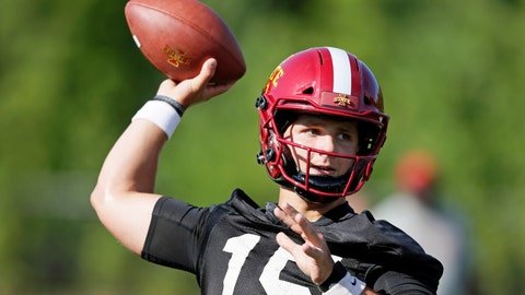 <p>               FILE - In this Aug. 2, 2019, file photo, Iowa State quarterback Brock Purdy throws a pass during an NCAA college football practice in Ames, Iowa. The Cyclones were ranked in the preseason poll for the first time in 41 years behind a punishing defense, a young quarterback who seems destined for stardom and a coach who always seems to push the right buttons. (AP Photo/Charlie Neibergall, File)             </p>
