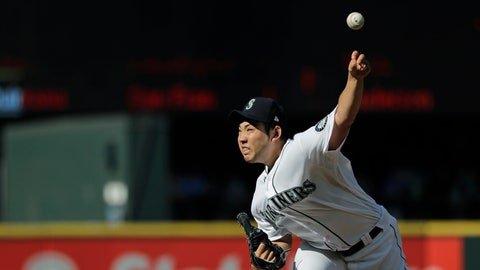 <p>               Seattle Mariners starting pitcher Yusei Kikuchi throws against the San Diego Padres during the fourth inning of a baseball game Wednesday, Aug. 7, 2019, in Seattle. (AP Photo/Ted S. Warren)             </p>