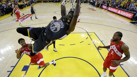 <p>               File-This June 13, 2019, file photo shows Golden State Warriors forward Draymond Green (23) dunking over Toronto Raptors guard Kyle Lowry, left, and forward Kawhi Leonard (2) during the first half of Game 6 of basketball's NBA Finals in Oakland, Calif. A person familiar with the situation says the Warriors and Green have agreed on a four-year extension worth nearly $100 million, meaning the three-time All-Star is under contract through the 2023-24 season. Green and the Warriors intend to make the deal official imminently, according to the person who spoke to The Associated Press on condition of anonymity Saturday because it has not been finalized.  (AP Photo/Tony Avelar, Pool, File)             </p>
