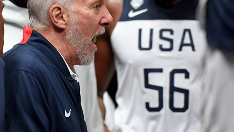 <p>               U.S head coach Gregg Popovich talks to player in a time-out during their exhibition basketball game in Melbourne, Thursday, Aug. 22, 2019. (AP Photo/Andy Brownbill)             </p>