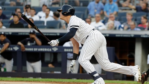 <p>               New York Yankees' Gio Urshela follows through on a single during the first inning of a baseball game against the Cleveland Indians, Friday, Aug. 16, 2019, in New York. (AP Photo/Frank Franklin II)             </p>