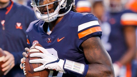 <p>               FILE - In this Saturday Oct. 13, 2018, file photo, Virginia quarterback Bryce Perkins (3) warms up prior to the start of the Miami-Virginia NCAA college football game in Charlottesville, Va. (AP Photo/Steve Helber, File)             </p>
