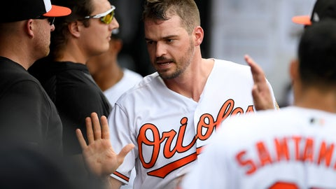 <p>               Baltimore Orioles' Trey Mancini reacts in the dugout after he scored on a bases-loaded walk to teammate Chance Sisco during the fifth inning of a baseball game against the Toronto Blue Jays, Sunday, Aug. 4, 2019, in Baltimore. (AP Photo/Nick Wass)             </p>