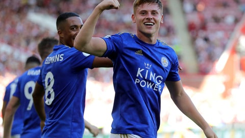<p>               Leicester City's Harvey Barnes celebrates after scoring his side's second goal of the game during the English Premier League soccer match between Sheffield United and Leicester City at Bramall Lane stadium, Sheffield, England. Saturday, Aug, 10 2019. (Richard Sellers/PA via AP)             </p>