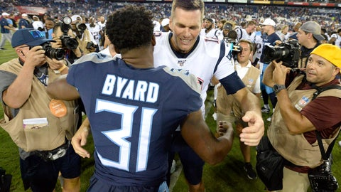 <p>               New England Patriots quarterback Tom Brady greets Tennessee Titans free safety Kevin Byard (31) after a preseason NFL football game Saturday, Aug. 17, 2019, in Nashville, Tenn. The Patriots won 22-17. (AP Photo/Mark Zaleski)             </p>