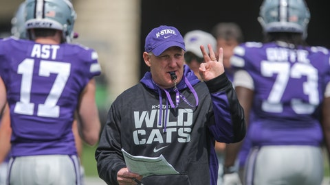 <p>               FILE - In this April 14, 2019, file photo, Kansas State head coach Chris Klieman leads his team through their final NCAA college spring football practice in Manhattan, Kan. (Travis Heying/The Wichita Eagle via AP, File)             </p>