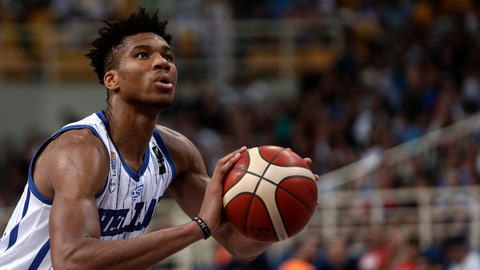 <p>               Greece's Giannis Antetokounmpo, of the Milwaukee Bucks, prepares for a free throw, during a game against Italy, at the Acropolis basketball tournament at the indoor Olympic stadium of Athens, Friday, Aug. 16, 2019. (AP Photo/Yorgos Karahalis)             </p>