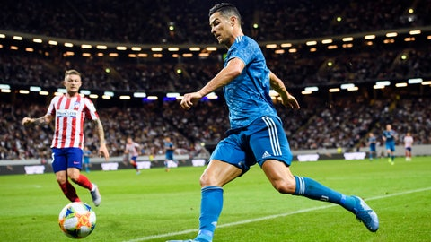 <p>               Juventus' Cristiano Ronaldo, right, drives the ball against Atletico Madrid, during the International Champions Cup soccer match Juventus vs. Atletico Madrid  at Friends Arena in Stockholm, Sweden, Saturday Aug. 10, 2019. (Erik Simander / TT via AP)             </p>