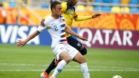 <p>               FILE - In this June 8, 2019, file photo, United States' Sergino Dest, left, and Ecuador's Gonzalo Plata challenge for the ball during a quarterfinal soccer match at the U20 World Cup in Gdynia, Poland. Defender Sergiño Dest and midfielder Paxton Pomykal are joining the U.S. national team for the first time, among 26 players on the roster for exhibitions against Mexico and Uruguay. (AP Photo/Darko Vojinovic, File)             </p>