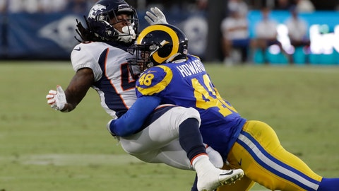 <p>               FILE - In this Aug. 24, 2019, file photo, Los Angeles Rams linebacker Travin Howard (48) during an NFL preseason football game against the Denver Broncos in Los Angeles. Howard and rookie Dakota Allen are competing for backup jobs and the final roster spots with the defending NFC champions this week in their preseason finale. (AP Photo/Rick Scuteri,File)             </p>