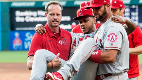 <p>               Los Angeles Angels starting pitcher Felix Pena is carried off the field by teammate Albert Pujols and an unidentified trainer during the second inning of a baseball game against the Cleveland Indians in Cleveland, Saturday, Aug. 3, 2019. (AP Photo/Phil Long)             </p>