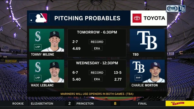 Rays go with opener in Game 2 vs. Mariners