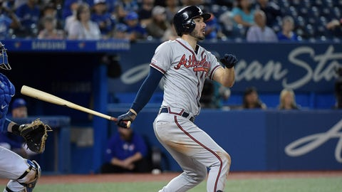 Aug 28, 2019; Toronto, Ontario, CAN;  Atlanta Braves designated hitter Matt Joyce hits a single against Toronto Blue Jays in the ninth inning at Rogers Centre. Mandatory Credit: Dan Hamilton-USA TODAY Sports