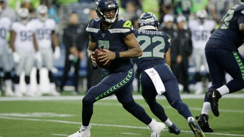 <p>               Seattle Seahawks quarterback Geno Smith drops back during the first half of the team's NFL football preseason game against the Oakland Raiders, Thursday, Aug. 29, 2019, in Seattle. (AP Photo/Elaine Thompson)             </p>