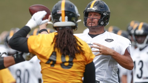 <p>               Pittsburgh Steelers quarterback Ben Roethlisberger (7) passes around linebacker Bud Dupree in a drill during practice at NFL football training camp in Latrobe, Pa., Thursday, Aug. 15, 2019. (AP Photo/Keith Srakocic)             </p>