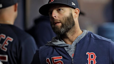 <p>               FILE-- In this April 19, 2019, file photo, Boston Red Sox Dustin Pedroia talks to a teammate before a baseball game against the Tampa Bay Rays in St. Petersburg, Fla. Pedroia paid a visit to his teammates Tuesday at Coors Field as he recovers from his latest surgery to his left knee. He's been limited to nine games over the past two seasons. (AP Photo/Chris O'Meara, File)             </p>