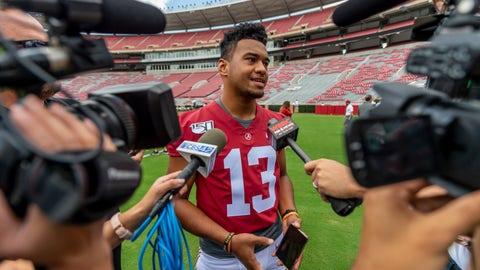 <p>               Alabama quarterback Tua Tagovailoa (13) talks with the media prior to Alabama's fall camp fan-day college football scrimmage, Saturday, Aug. 3, 2019, at Bryant-Denny Stadium in Tuscaloosa, Ala. (AP Photo/Vasha Hunt)             </p>