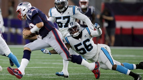 <p>               New England Patriots quarterback Tom Brady runs with the ball as Carolina Panthers linebacker Jermaine Carter (56) chases him in the first half of an NFL preseason football game, Thursday, Aug. 22, 2019, in Foxborough, Mass. (AP Photo/Charles Krupa)             </p>