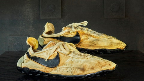 <p>               This undated photo provided by Graduate Hotels shows a pair of handmade Nike track shoes from the 1972 Olympic trials. The pair of Nike track shoes has sold for $50,000. (Christian Horan/Graduate Hotels via AP)             </p>