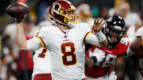 <p>               Washington Redskins quarterback Case Keenum (8) works in the pocket against the Atlanta Falcons during the first half an NFL preseason football game, Thursday, Aug. 22, 2019, in Atlanta. (AP Photo/John Bazemore)             </p>