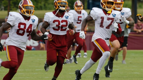 <p>               FILE - In this Aug. 5, 2019, file photo, Washington Redskins wide receiver Terry McLaurin (17) runs drills with teammates Samaje Perine (32) and Darlin Kidsy Jr., (84) during the Washington Redskins NFL football training camp in Richmond, Va. The Redskins will become the first NFL team to have a gambling-focused telecast of their games, offering cash prizes to viewers who correctly predict in-game outcomes during the preseason. The telecasts on the regional cable network NBC Sports Washington will follow a formula established by the Redskins' NBA neighbors, the Washington Wizards. (AP Photo/Steve Helber, File)             </p>