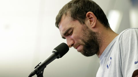 <p>               Indianapolis Colts quarterback Andrew Luck speaks during a news conference following the team's NFL preseason football game against the Chicago Bears, Saturday, Aug. 24, 2019, in Indianapolis. The oft-injured star is retiring at age 29. (AP Photo/AJ Mast)             </p>