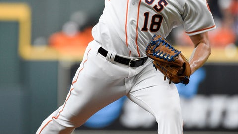 <p>               Houston Astros starting pitcher Aaron Sanchez delivers during the first inning of the team's baseball game against the Seattle Mariners, Saturday, Aug. 3, 2019, in Houston. (AP Photo/Eric Christian Smith)             </p>