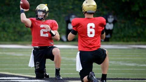 <p>               In this Aug. 5, 2019, photo, Vanderbilt quarterback Deuce Wallace (2) warms up with quarterback Riley Neal (6) during an NCAA college football practice in Nashville, Tenn. Vanderbilt has won at least five games each of the past three seasons and reached two bowls in that span. They've also won three straight against in-state rival Tennessee for their longest winning streak in this series since the 1920s. (AP Photo/Mark Humphrey)             </p>