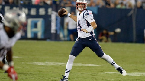 <p>               New England Patriots quarterback Jarrett Stidham (4) passes against the Tennessee Titans in the second half of a preseason NFL football game Saturday, Aug. 17, 2019, in Nashville, Tenn. (AP Photo/Mark Zaleski)             </p>