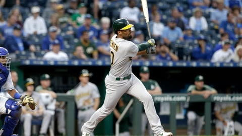 <p>               Oakland Athletics' Marcus Semien hits a three-run triple during the second inning of a baseball game against the Kansas City Royals, Monday, Aug. 26, 2019, in Kansas City, Mo. (AP Photo/Charlie Riedel)             </p>