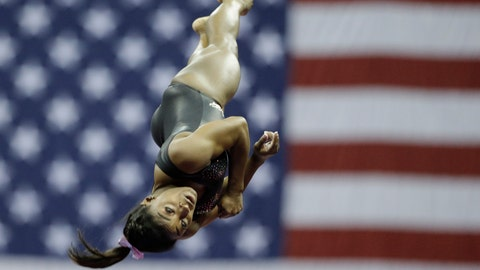 <p>               Simone Biles practices on vault for the senior women's competition at the 2019 U.S. Gymnastics Championships Sunday, Aug. 11, 2019, in Kansas City, Mo. (AP Photo/Charlie Riedel)             </p>